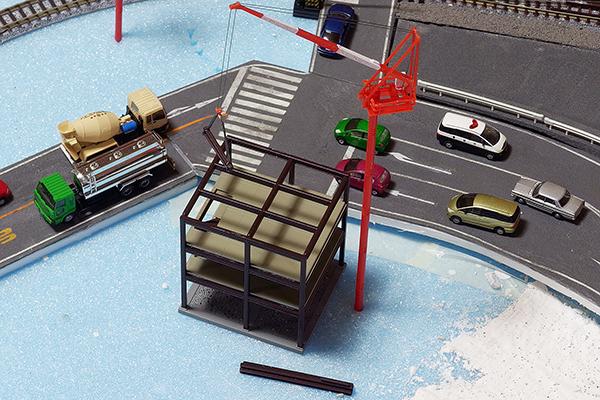 TOMYTEC 072 情景コレクション (ジオコレ) 建物コレクション 建築中の建物B・スタジオミド BD-01 クライミングクレーン小型(レッド)