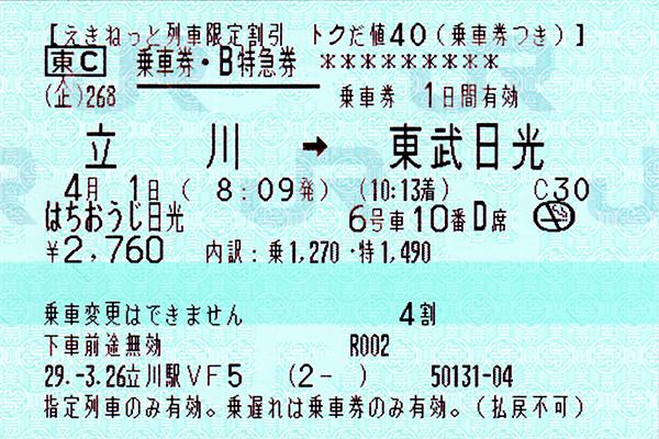 [ はちおうじ日光乗車券・指定席特急券 往路 未使用 2 ]
