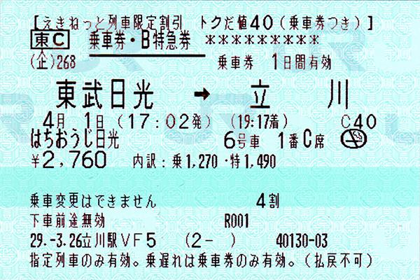 [ はちおうじ日光乗車券・指定席特急券 復路 未使用 1 ]