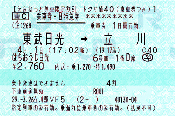[ はちおうじ日光乗車券・指定席特急券 復路 未使用 2 ]